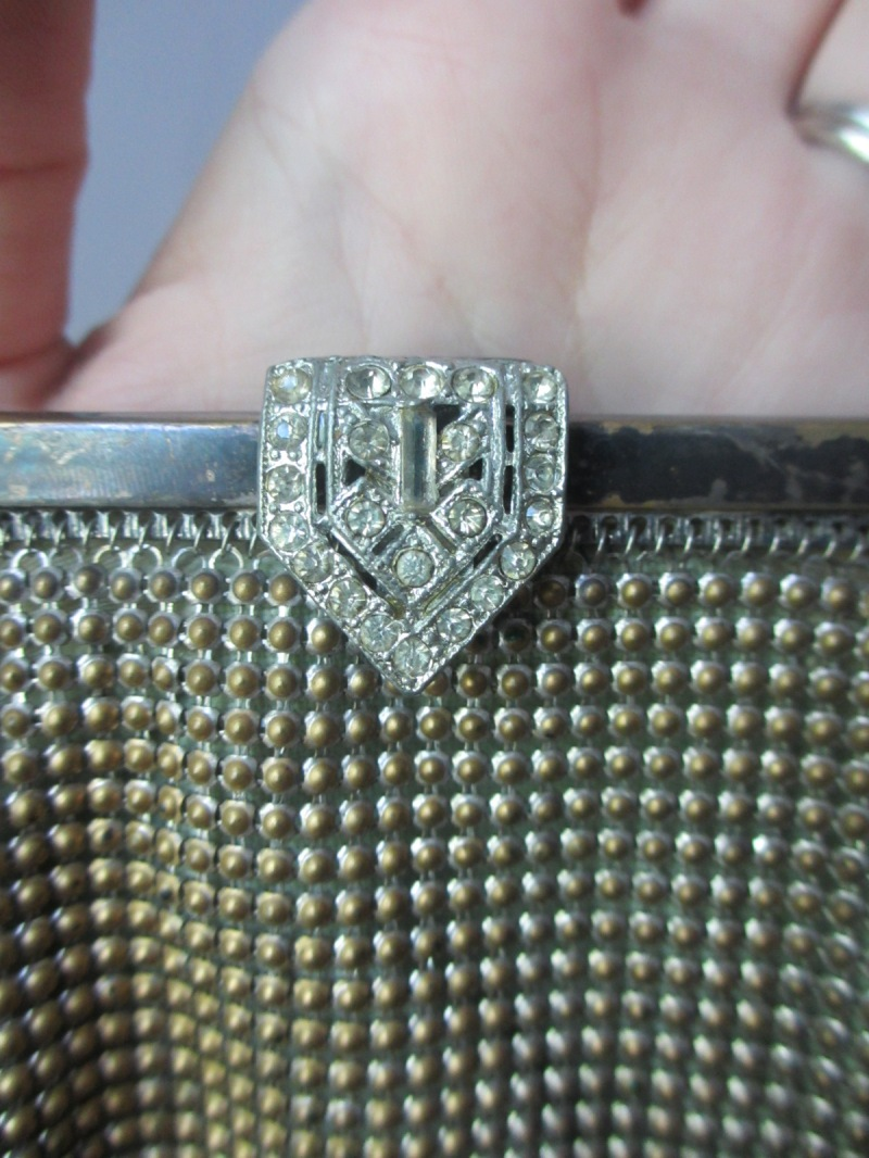 closeup of WHiting & Davis vintage purse