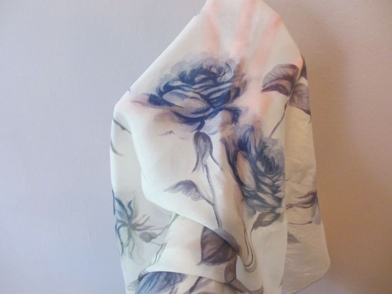 vintage silk, blue and white scarf