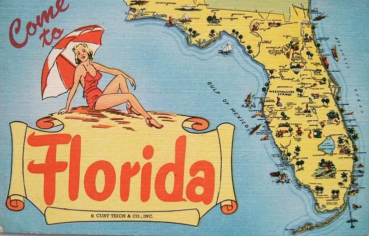 florida map postcard