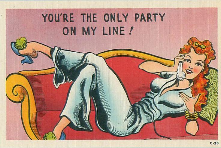 party line postcard
