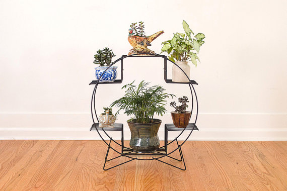 Mid Century Black Metal Hairpin Plant Stand