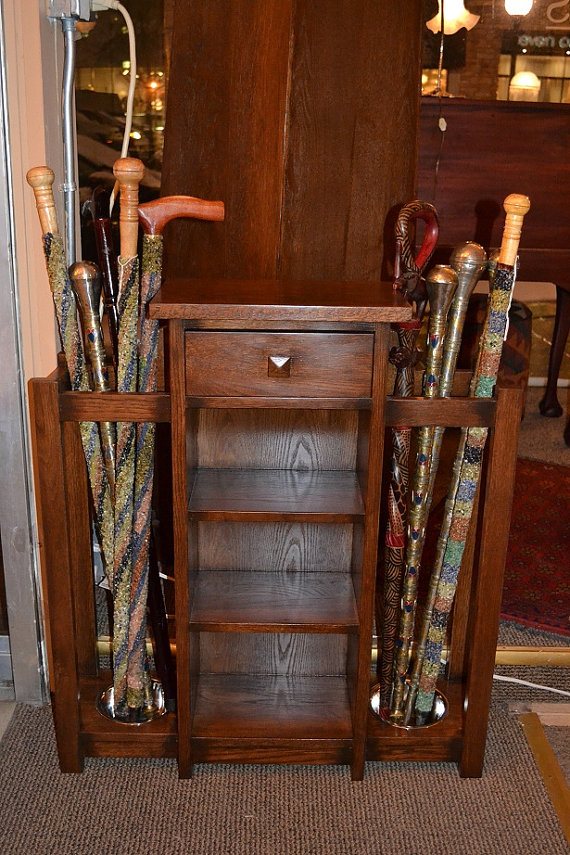 Antique Mission Oak Umbrella Stand/ Entry stand