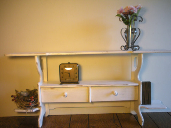 vintage shabby chic white wood wall shelf