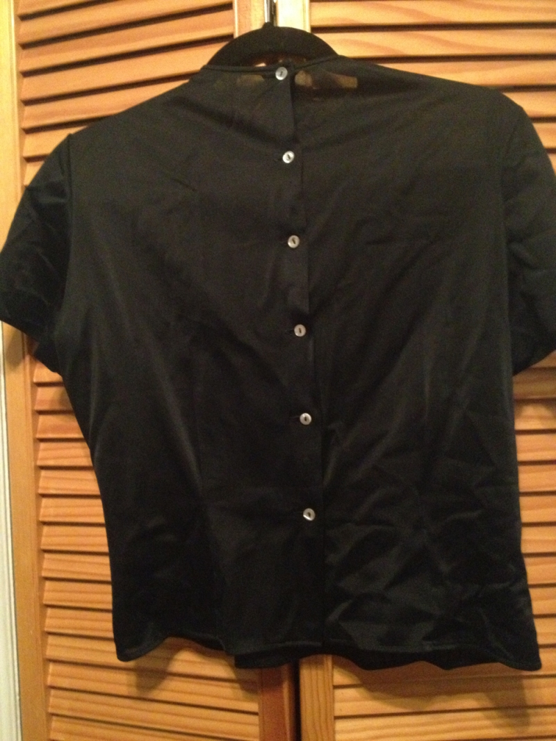 black nylon blouse back