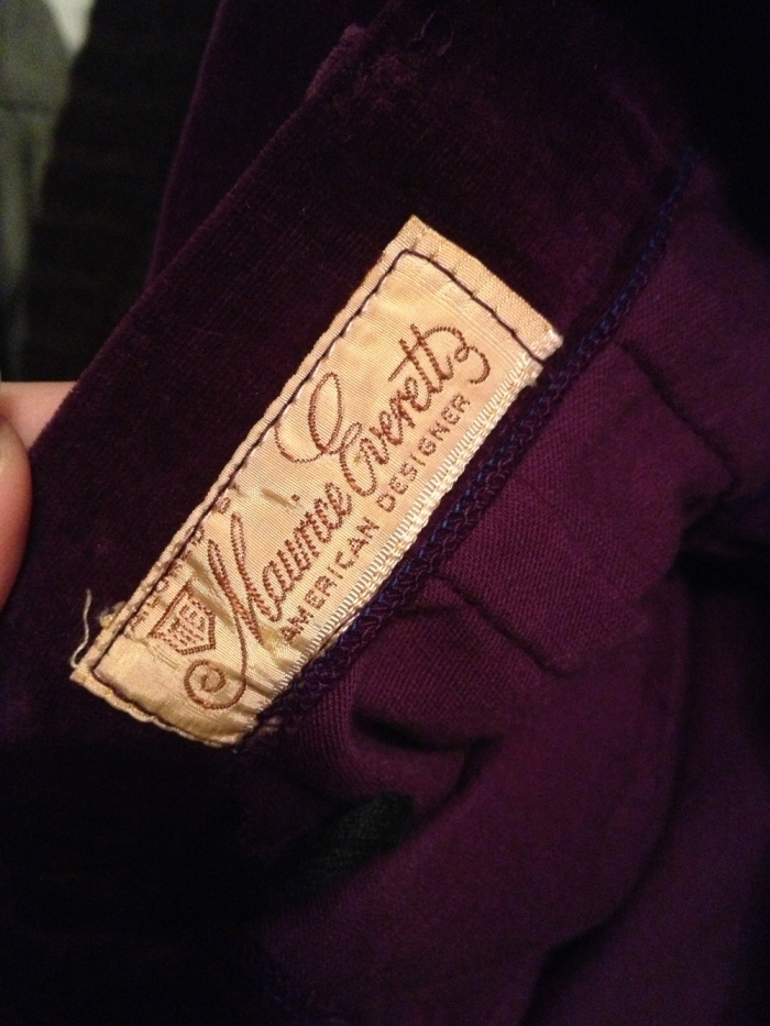 purple skirt brand name tag from The Vintage Cat's Blog