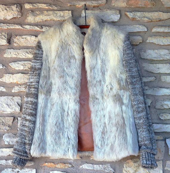 1980s rabbit fur and wool coat1