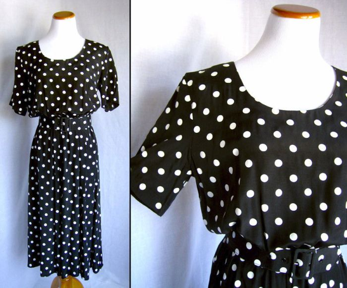 70s does 40s polka dot dress