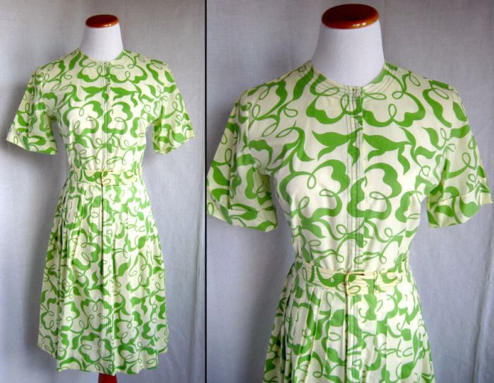 Green and Cream Dress