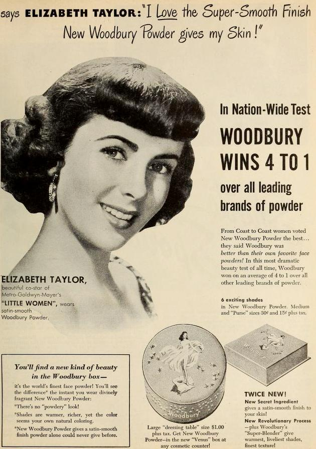 Elizabeth Taylor for Woodbury Powder, December 1948