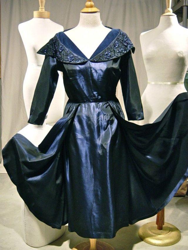 1950s Rembrandt Midnight Beaded Collar Taffeta Hostess Dress