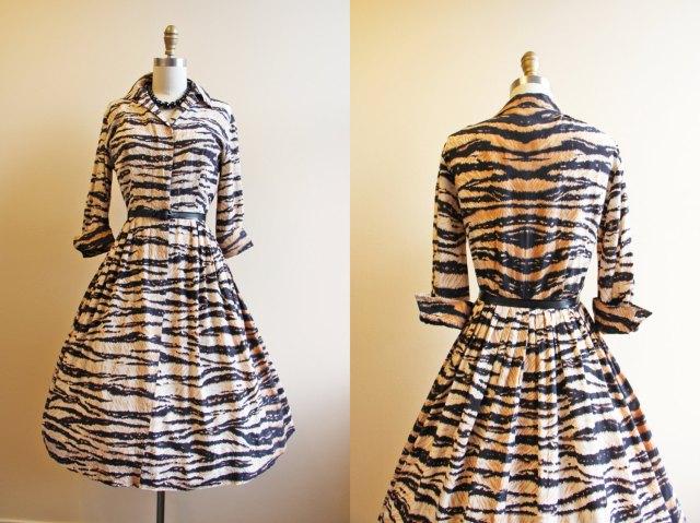 50s tiger print dress